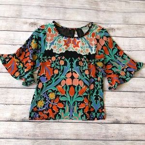 Anthropologie Maeve Silk Floral Blouse Size 0
